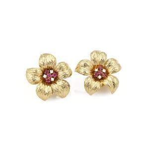Tiffany & Co. Diamond Ruby 18k Yellow Gold Flower Post