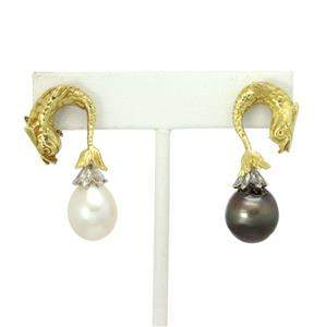 2.00ct Diamond Day & Night South Sea Pearls 18k Gold