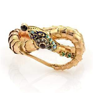 Vintage 14k Rose Gold Diamonds Garnet Emerald & Enamel