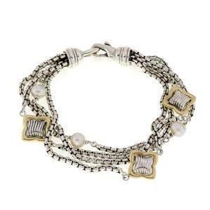 David Yurman Quatrefoil Pearls 925 Silver 18k Gold 4
