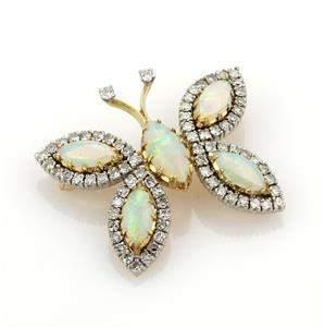 Vintage 7.20ct Diamonds & Opal 18k Two Tone Gold