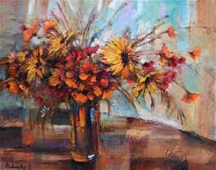RODANSKY ** FLOWER VASE ON TABLE ** ORIGINAL ACRYLIC