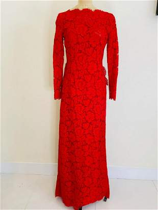 Valentino red lace gown size 6