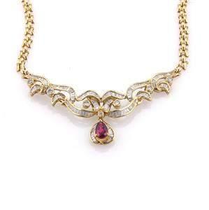 Estate 3.80ct Diamonds & Ruby 18k Yellow Gold Fancy