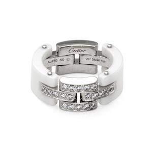 Cartier Diamond White Ceramic 18k Gold Panther Link