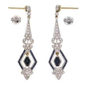 Vintage Diamonds Sapphire 18k Gold Platinum Dangle