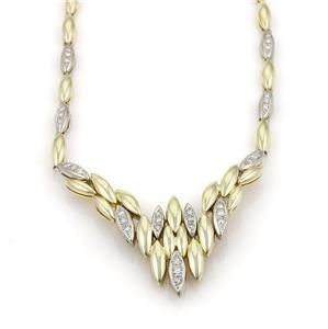 Estate 1.30ct Diamond 14k Two Tone Gold Fancy Necklace