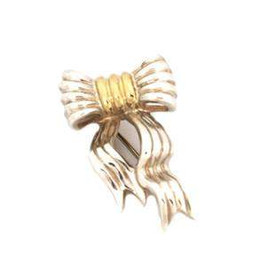 Tiffany & Co. 925 Silver 18k Yellow Gold Grooved Ribbon