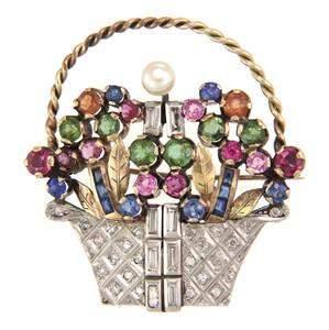 Vintage 1.00ct Diamond 9k Two Tone Gold Multicolor Gems