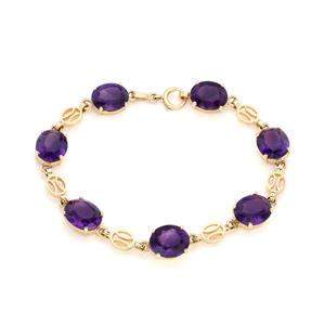 Vintage 28 Carats Amethyst 14k Yellow Gold Oval Link
