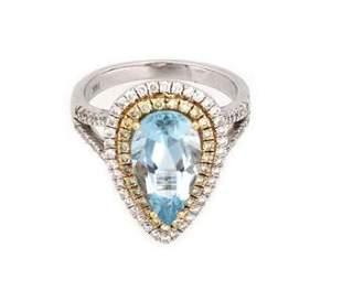 Elegant Diamond Aquamarine 14k Two Tone Gold Pear Shape