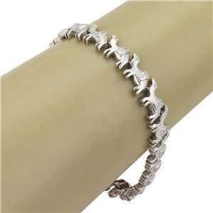"18k White Gold & Diamond Camel Link Bracelet 8"" Long"