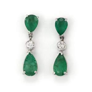 Vintage 4.80ct Diamond Emerald 14k Gold Teardrop Dangle