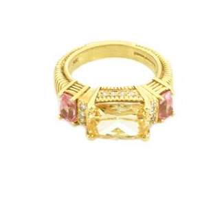 Judith Ripka Diamond Canary Crystal Pink Topaz 18k