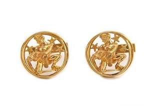 14k Yellow Gold 3D Figure Aquarius Zodiac Cufflinks