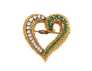 Vintage 2ct Diamond & Emerald 18k Gold Heart Pendant