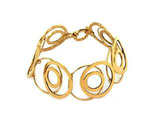 """Italy 14k Yellow Gold 1"""" Wide Fancy Multi Circle Link"""