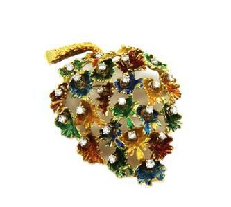 Diamond Multicolor Enamel 18k Yellow Gold Large Leaf