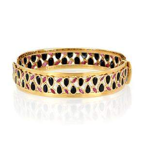 Estate 16ct Sapphire & Ruby 14k Yellow Gold 14mm Wide