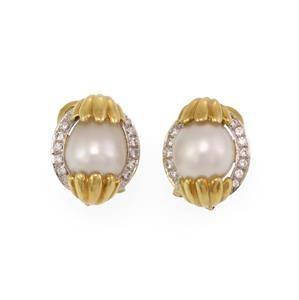 Estate 18k Gold Diamond Pearl Egg Shell Post Clip