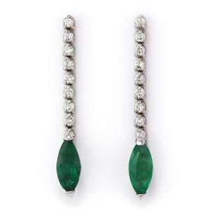 Vintage 3.65ct Emerald & Diamond 14k White Gold Dangle
