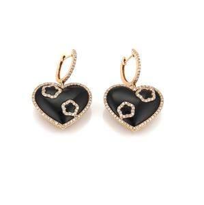 1.00ct Diamond Onyx 18k Rose Gold Hearts Drop Dangle