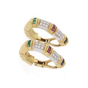 Estate 2.50ct Diamond & Gems 18k Two Tone Gold Oval