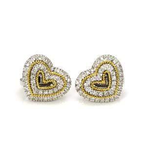 Harpo's 1 Carat Diamond 18k Two Tone Gold Hearts Post