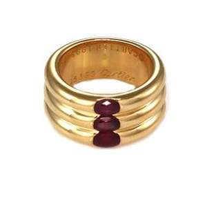 Cartier Ellipse 2.25ct Ruby 18k Gold 3 Stack Dome Band