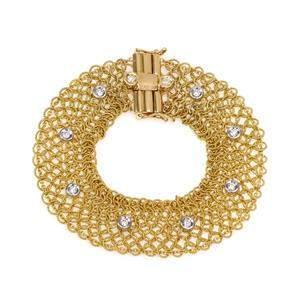 18k Two Tone Gold Diamond 15.5mm Fancy Open Flex Chain
