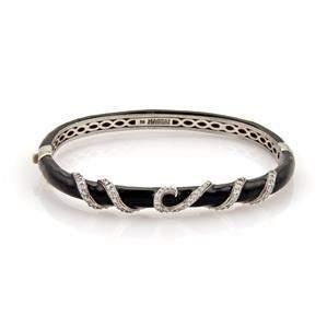 Haggai Black Enamel & Diamonds 14k White Gold Spiral