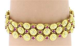 Estate 18k Yellow Gold Enamel Diamond & Ruby Fancy
