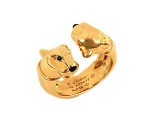 Cartier Onyx Tsavorite 18k Yellow Gold Double Panther