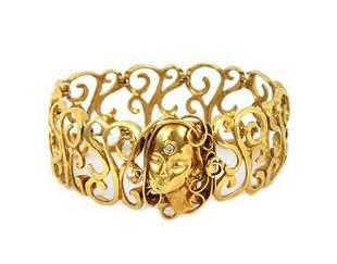 Art Nouveau Diamond 18k Yellow Gold Scroll Woman Cameo