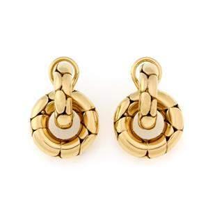 John Hardy Kali 18k Yellow Gold Dangle Hoop Earrings