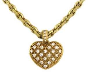 Judith Ripka 1.15ct Diamond 18k Yellow Gold Heart