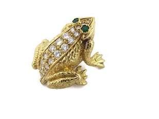 18k Yellow Gold 1.18ct Diamond & Emerald 3D Frog Brooch
