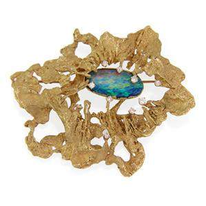 Ed Wiener Opal Diamond 18k Yellow Gold Large Textured
