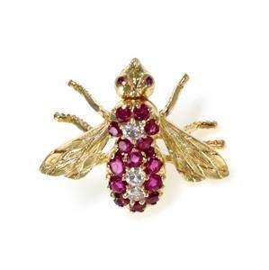 Herbert Rosenthal Diamond & Ruby 18k Yellow Gold Bee