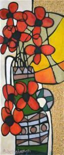 BEN-SIMHON ** RED FLOWERS IN GREEN VASE ** ORIGINAL