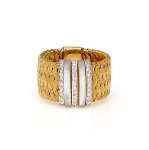 Roberto Coin Primavera MOP & Diamond 18k Gold Wide