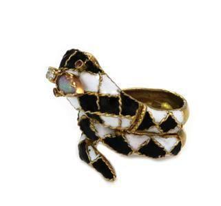 Vintage Diamond Opal Ruby Enamel 14k Yellow Gold Snake