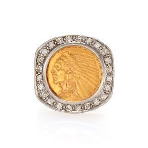22k Gold 2 1/2 Dollar Indian Head Coin Diamonds 14k