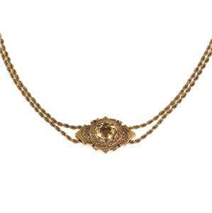 Victorian 8.00ct Citrine 14k Gold Pendant Double Chain