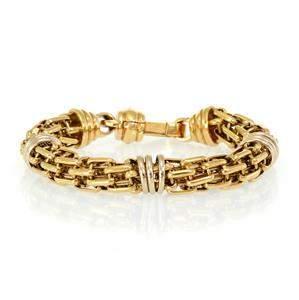 Large 18k Two Tone Gold 12mm Round Flex Link Bracelet