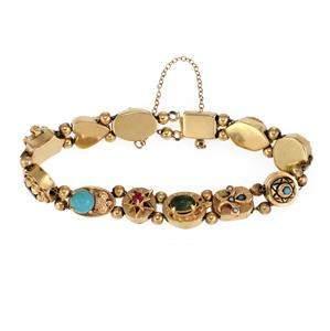 Vintage Multicolor Gems Pearls 14k Gold 12 Slide Charm