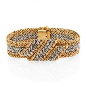 Vintage Spitzer & Furman 18k Two Tone Gold Fancy Weave