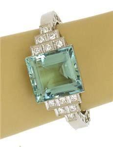 Estate 62ct Aquamarine & Diamonds Platinum Hinged Fancy