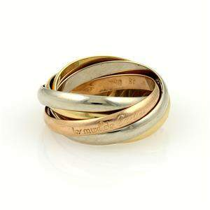 Cartier Trinity 18k Tri-Color Gold 5 Rolling Rings Size