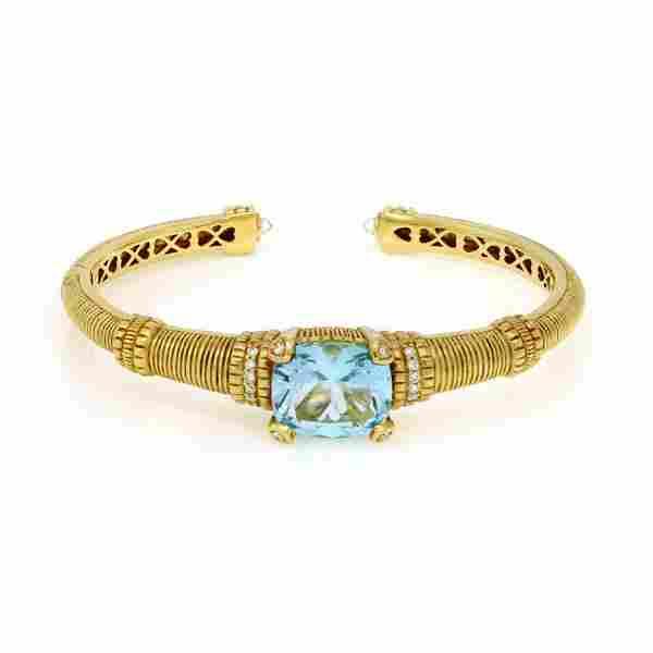 Judith Ripka Diamond Blue Topaz 18k Yellow Gold Cuff